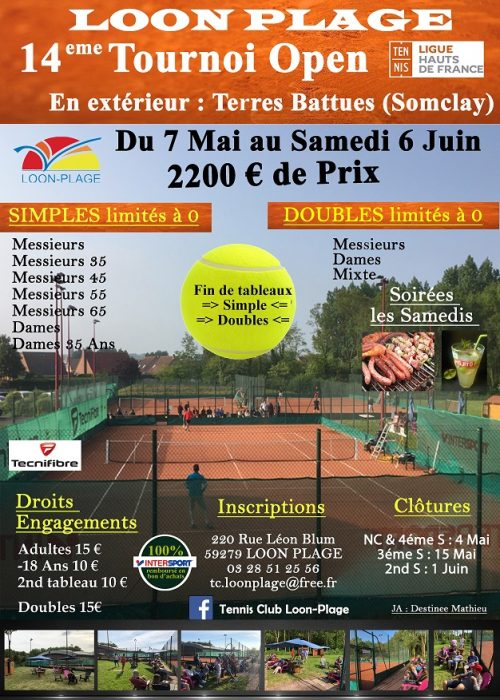 Affiche Open Adultes Tennis club loon plage